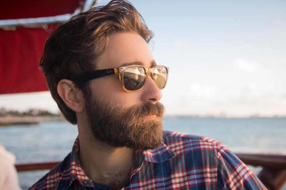 people man shades beard beauty water ocean sea