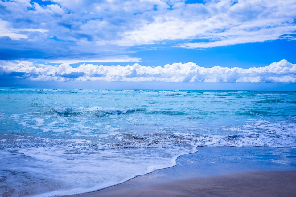 sea ocean water waves nature beach coast sand clouds sky