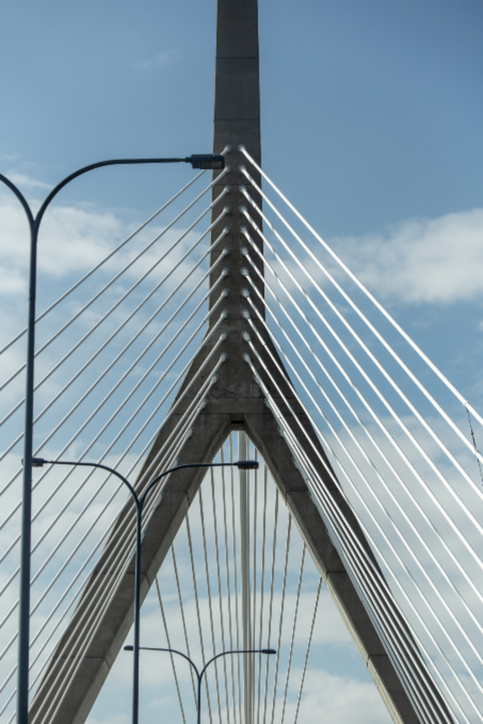 bridge abstract city angle architecture structure modern cable lines tower sky clouds design travel street lights