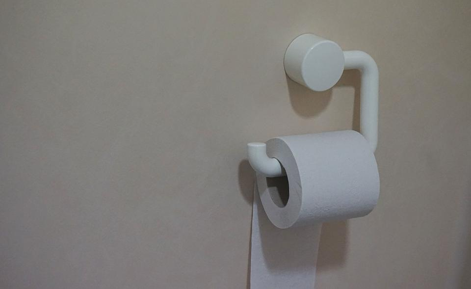 paper tissue roll tissue holder toilet wall white