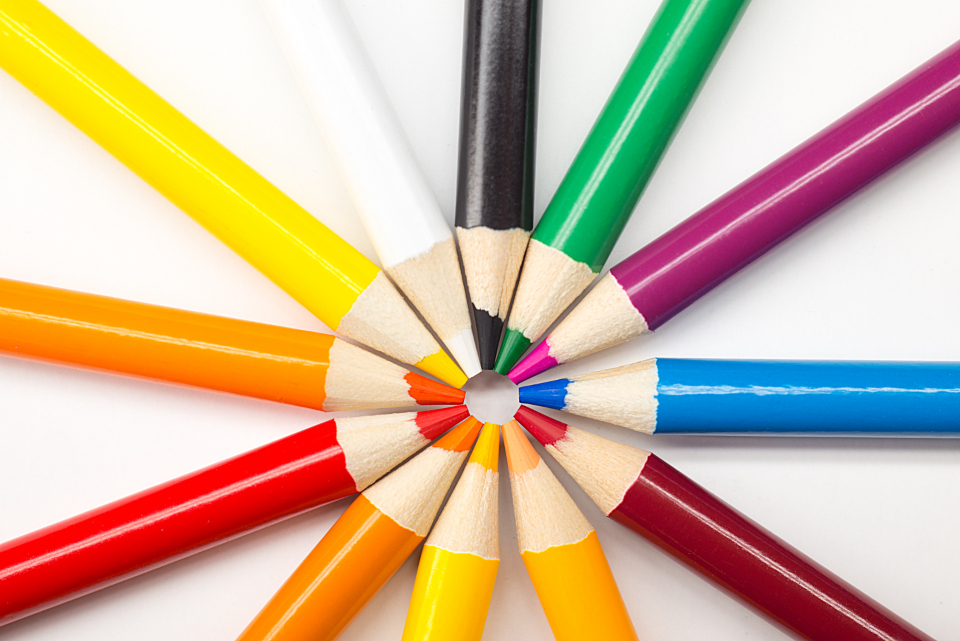 colored pencils circle rainbow art artist pencils color red orange blue green white black design yellow white background
