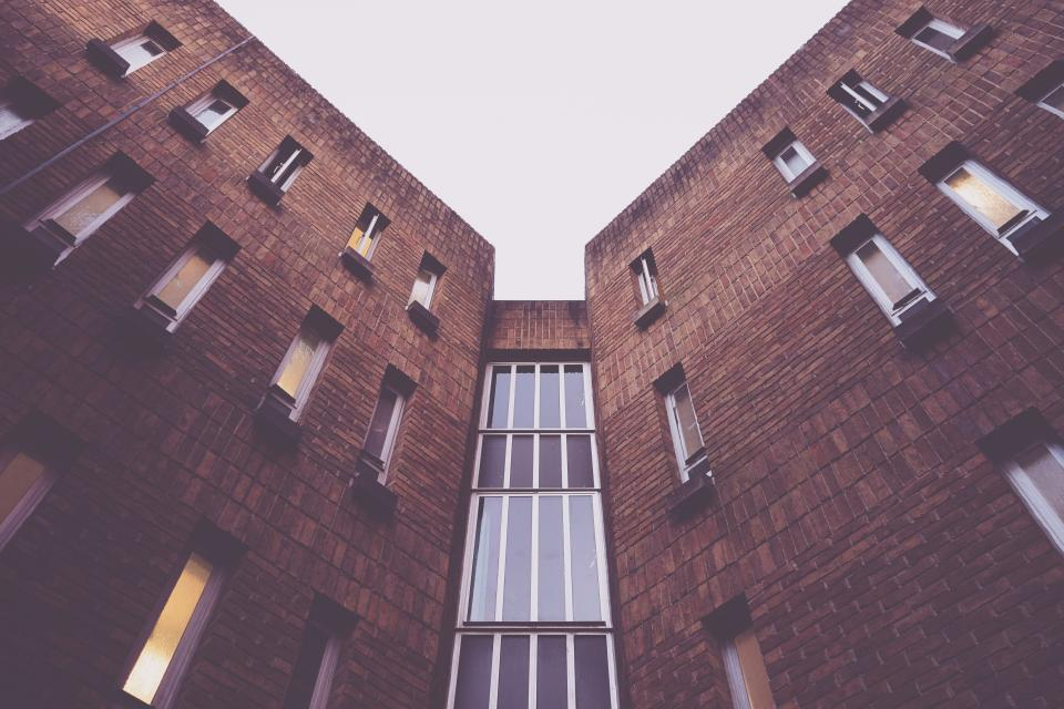 architecture building modern art structure windows bricks lines linear shapes patterns perspective sky
