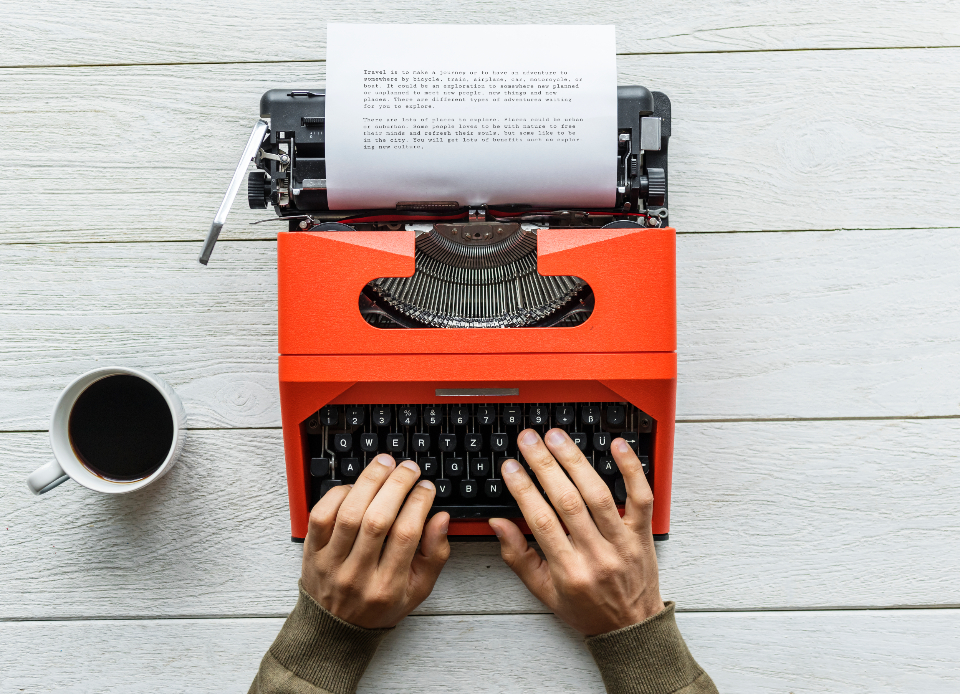 aerial analog analogue author background beverage caffeine career classic coffee creative cup document drink editorial enjoying equipment flat lay flatlay freelancer hand hot drink journalist keyboard machine mug old fashi
