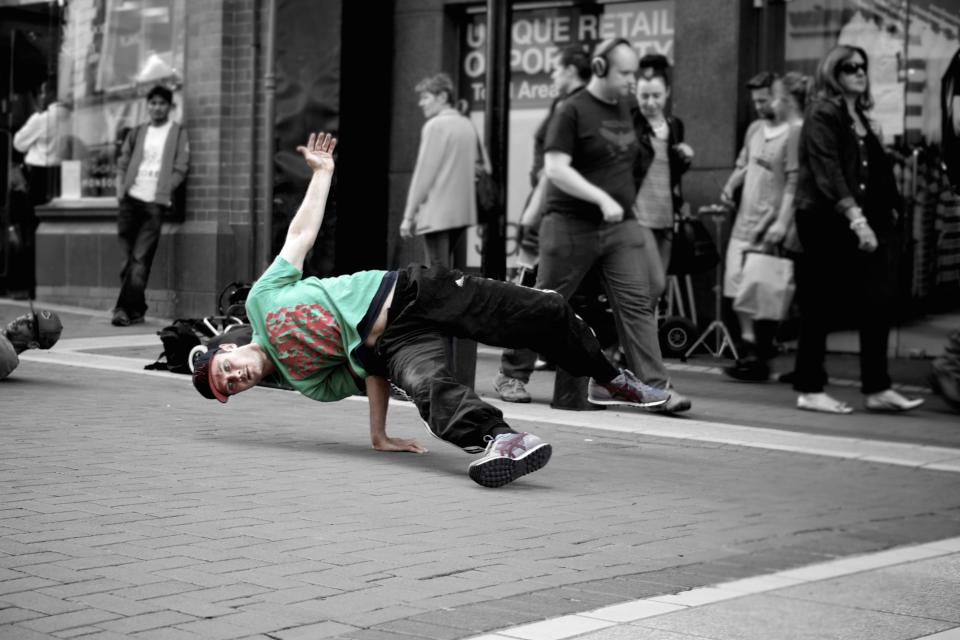 break dancers break dancing street young guy people pedestrians city urban