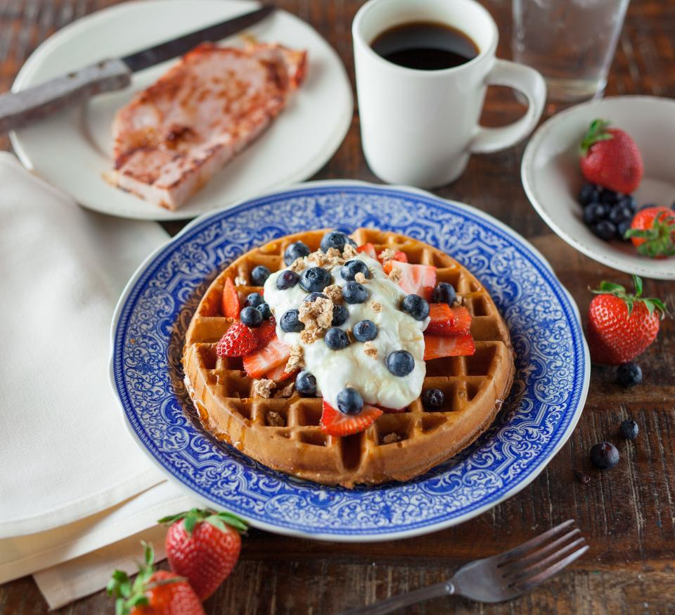 waffle pancake food breakfast snack strawberry fruit blueberry cream restaurant hot drink coffee