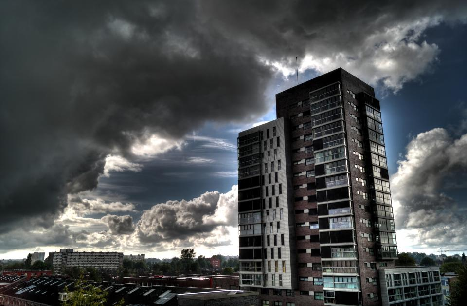 buildings highrise city tower sky clouds hdr