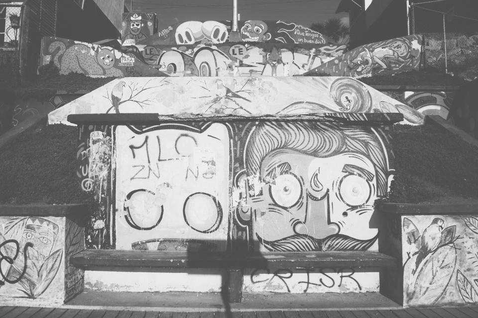 graffiti bench murals black and white