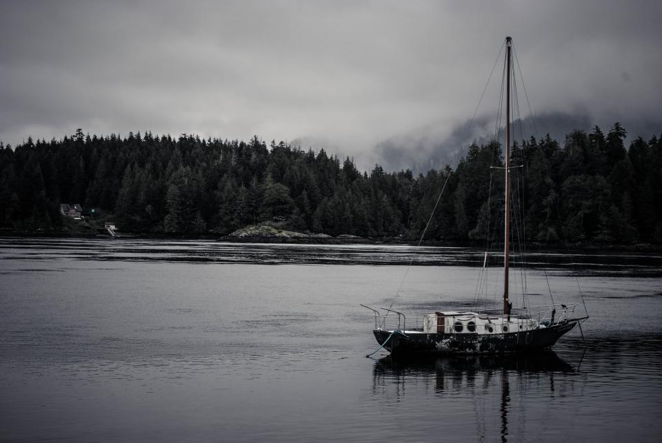 sea lake boat ship sailing forest canada wilderness outdoors fog clouds