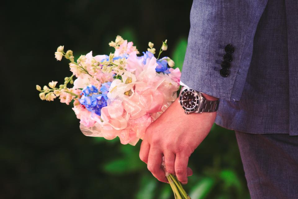people man watch guy flower gift