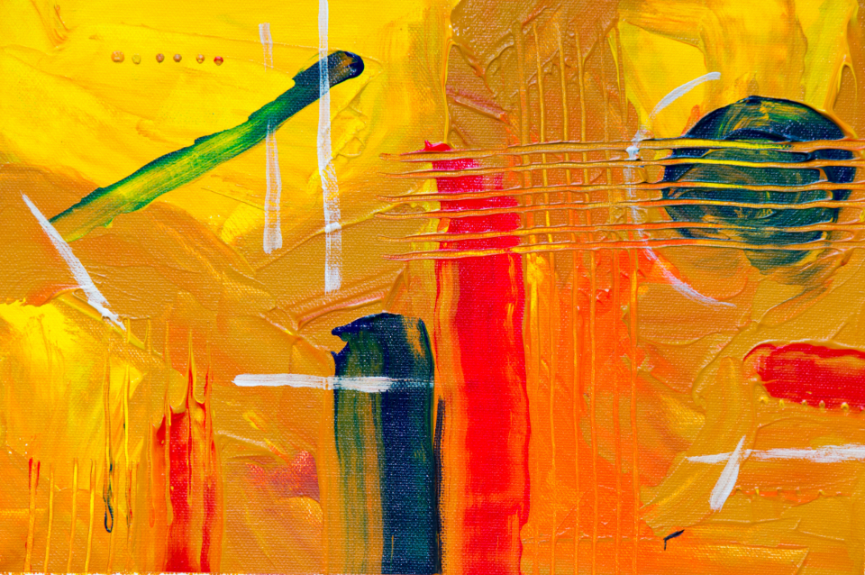 orange abstract art painting bold colorful bright creative design artist canvas close up paintbrush acrylic yellow