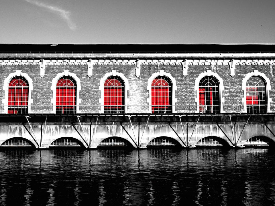 building bridge architecture windows bricks water black and white