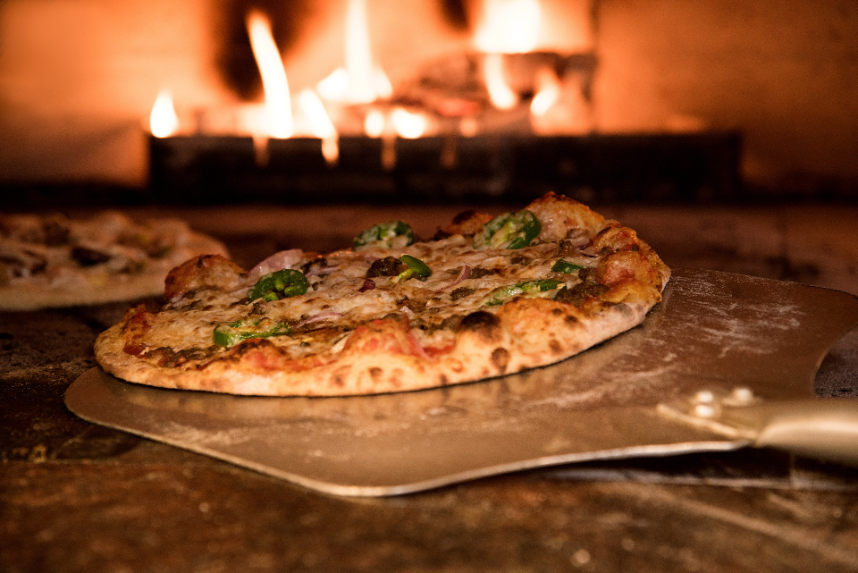 rustic pizza oven food tasty snack fresh fire flame cook bake paddle burn