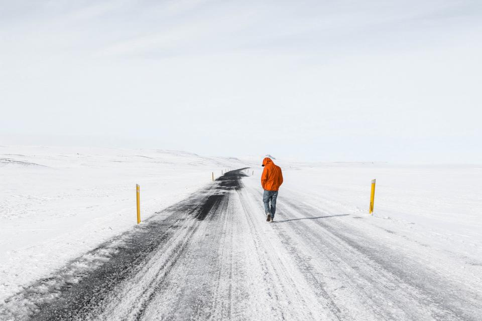 people man walking hiking travel outdoor road snow winter field
