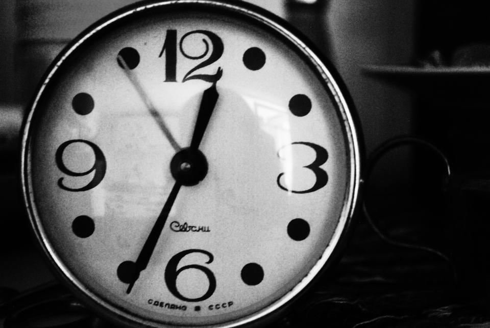 black and white clock