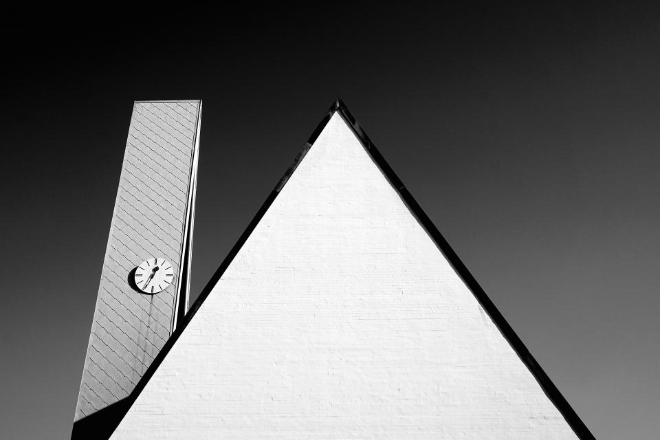 architecture building time clock structure establishment roof triangle monochrome black and white