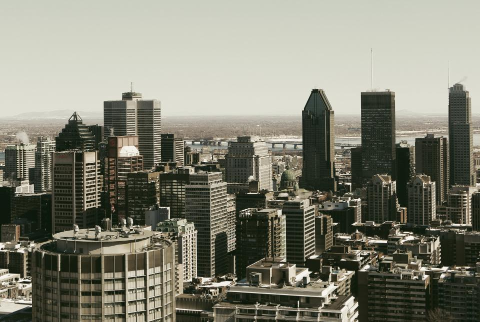 montreal city downtown buildings towers skyline rooftops view architecture