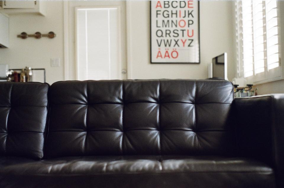 leather couch house apartment letters furniture