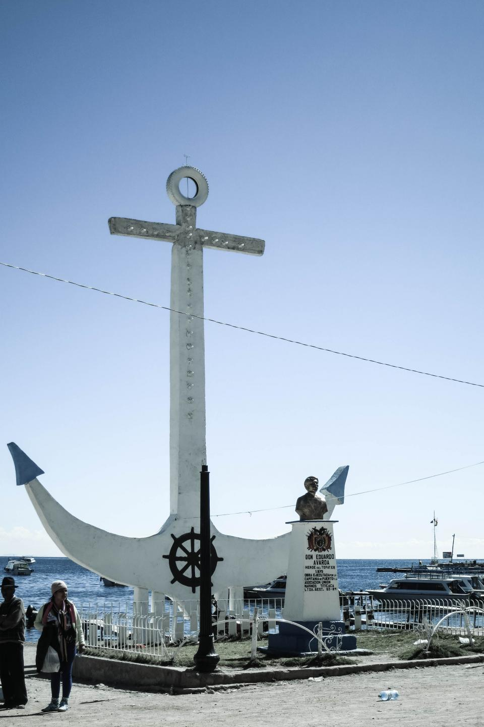 anchor Copacabana Bolivia statue landmark water
