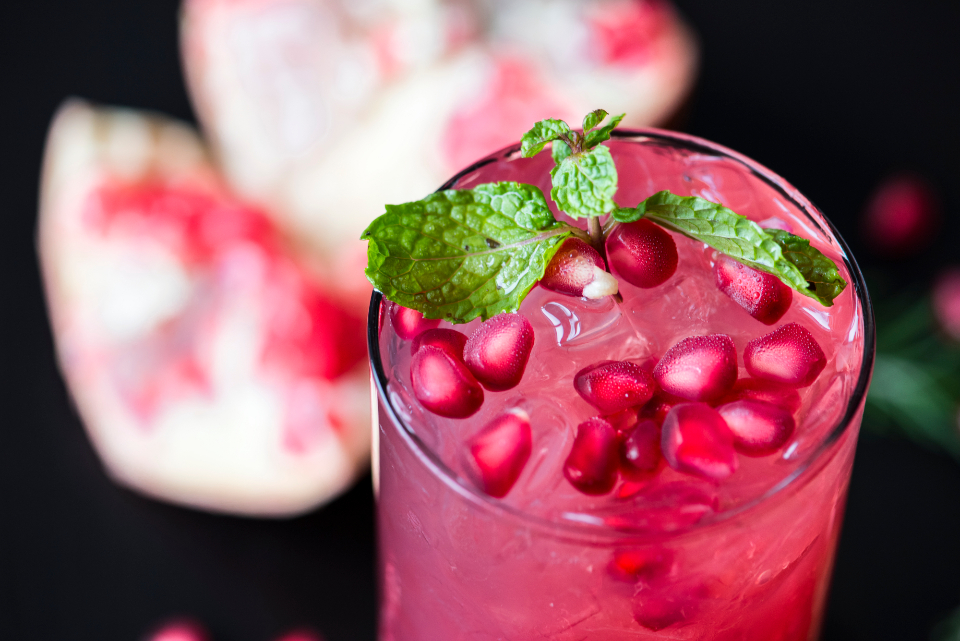 antioxidant beverage cold drink drink drinking food photography fresh freshness fruit garnet glass gourmet health healthcare healthy ingredient juice juicy macro mint natural nutrients nutrition nutritious organic pomegranate