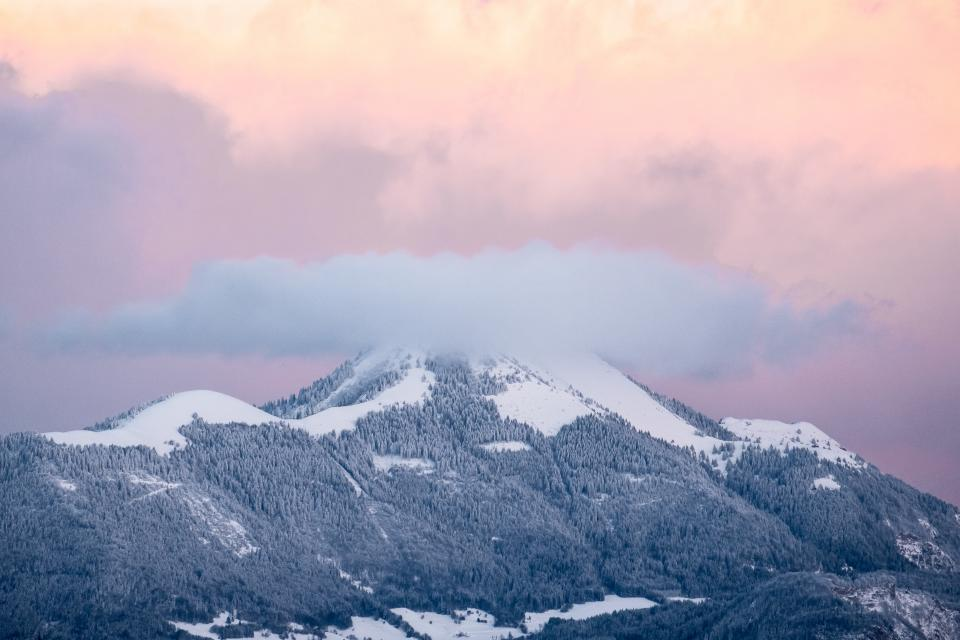 mountain highland cloud sky summit ridge landscape nature valley hill snow winter view travel trees