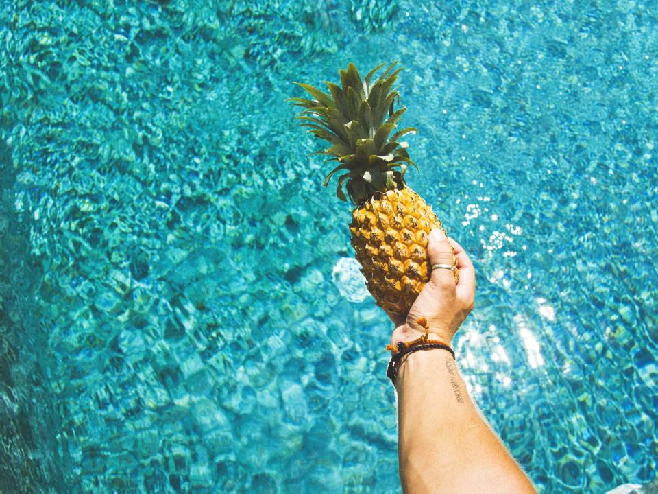 hand ring pool water swimming food fruits pineapple shine outdoor wrist