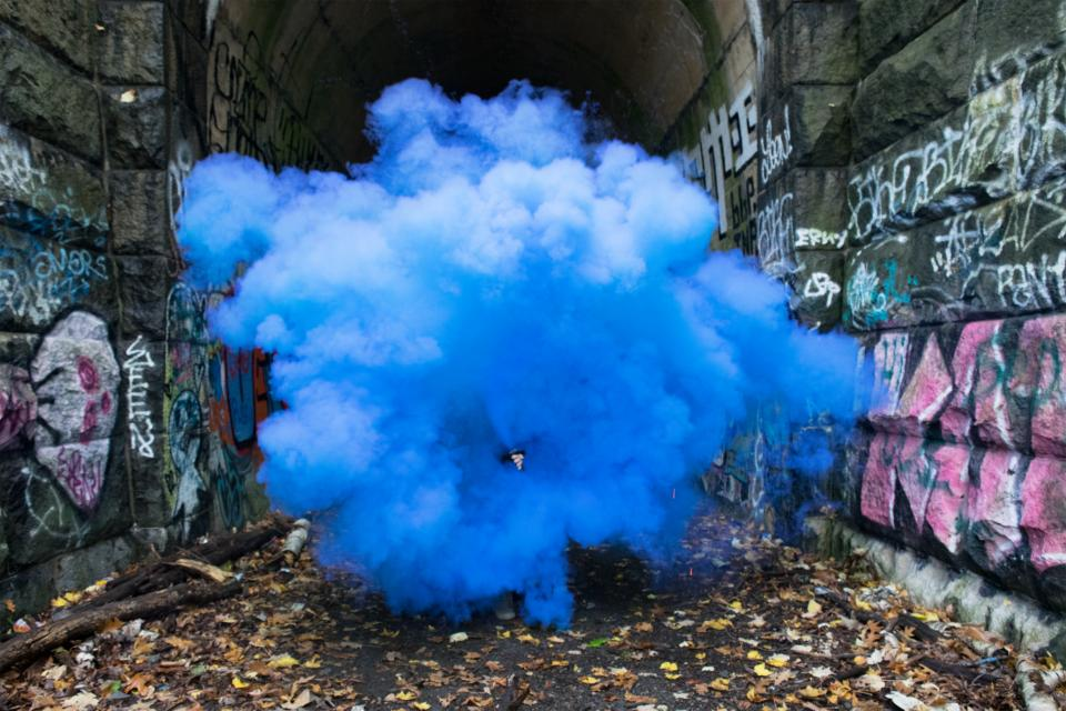 wall tunnel blue smoke graffiti leaf fall art