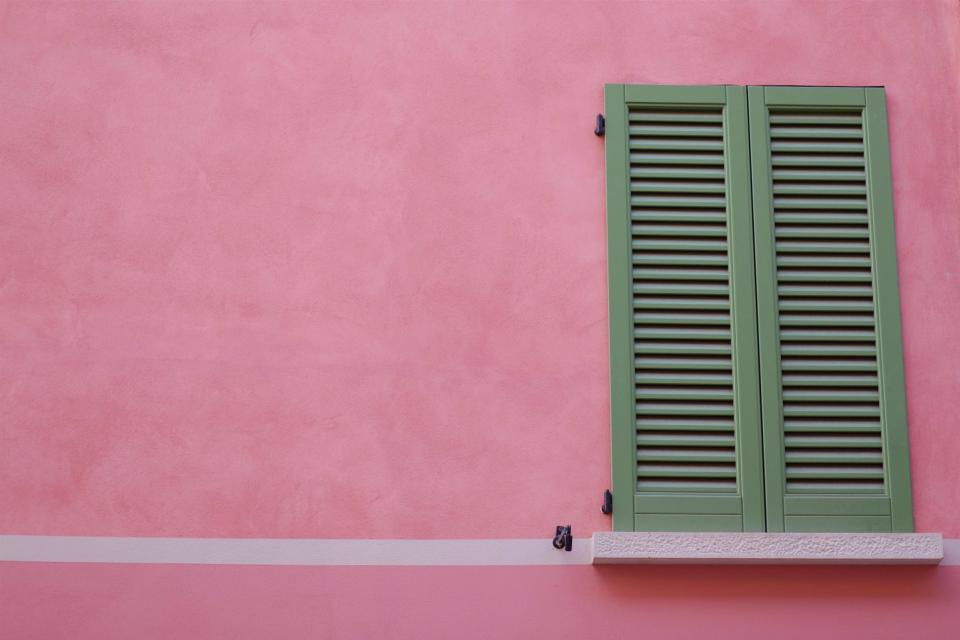 shutters window pink wall house architecture