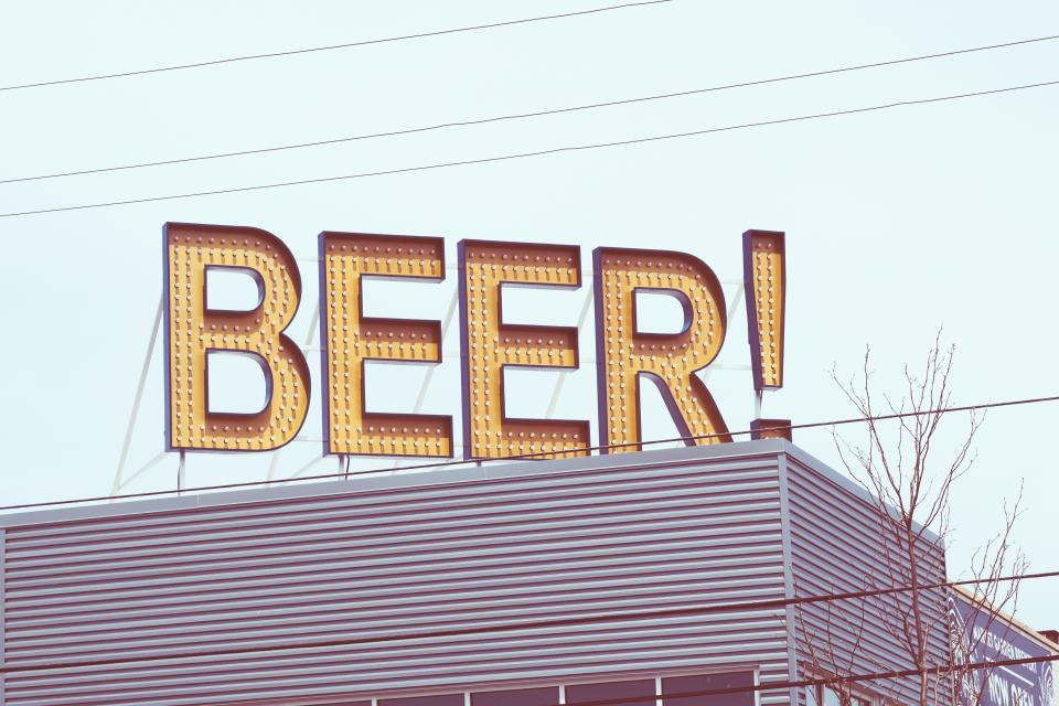 architecture building infrastructure signage beer bar wire