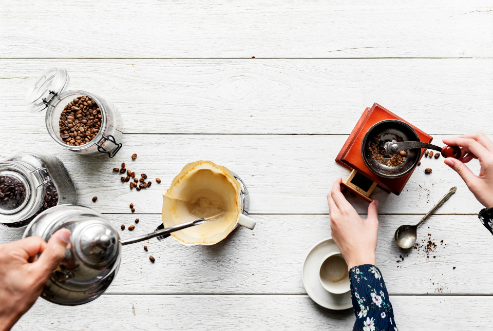 barista beans business cafe caffeine career coffee coffee beans culture cup drink drip drip coffee enjoying flat lay flatlay fresh grinder grinding hand hipster hobby home house interest kettl