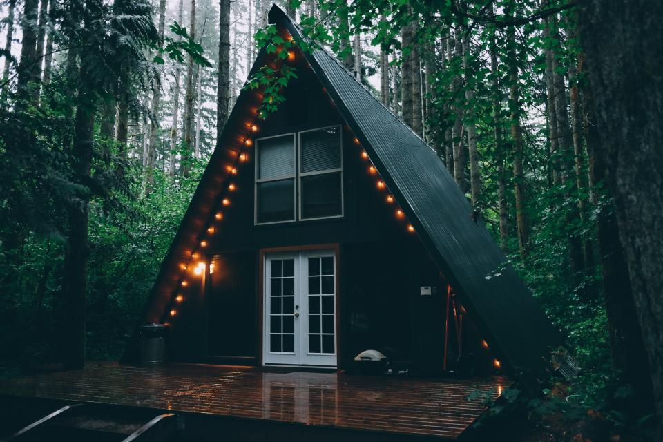 cabin house light bulbs lights forest woods nature camping trees leaves wood
