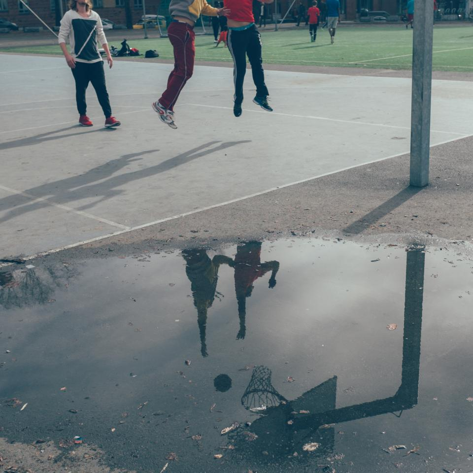basketball court sports athletes fitness exercise fun jumping reflection puddle oslo team