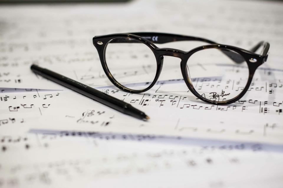 eyeglasses pen music notes audio paper creative art