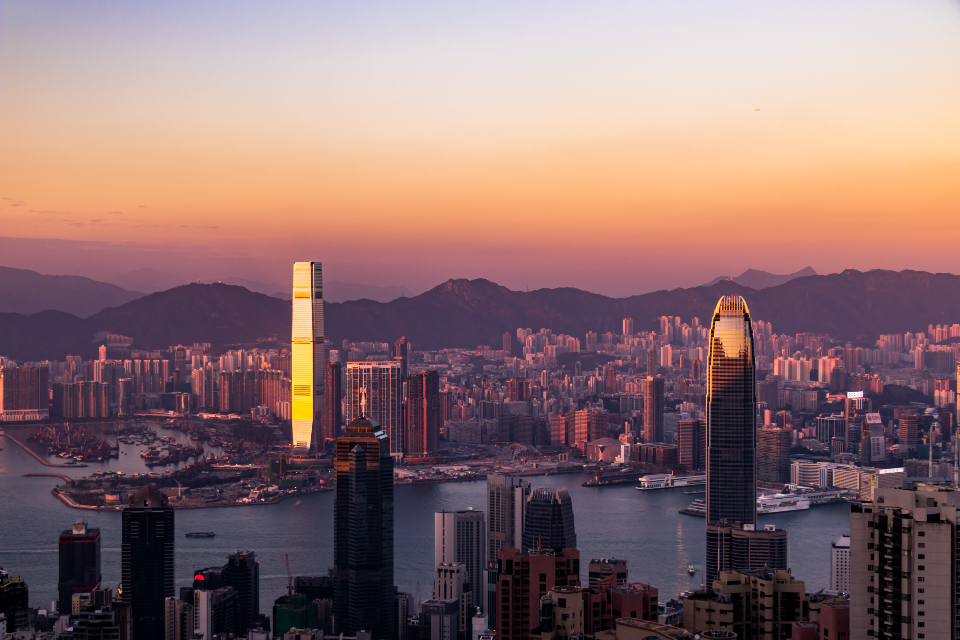 Hongkong city view amazing asia travel tourism sunset red clear sky