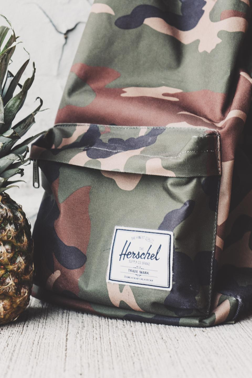 bag backpack travel outdoor herschel pineapple fruit food juicy health