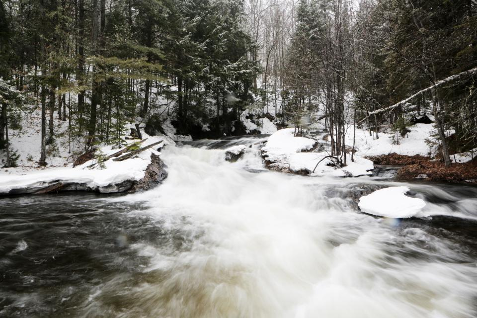 river stream water rocks outdoors nature forest woods trees snow cold winter