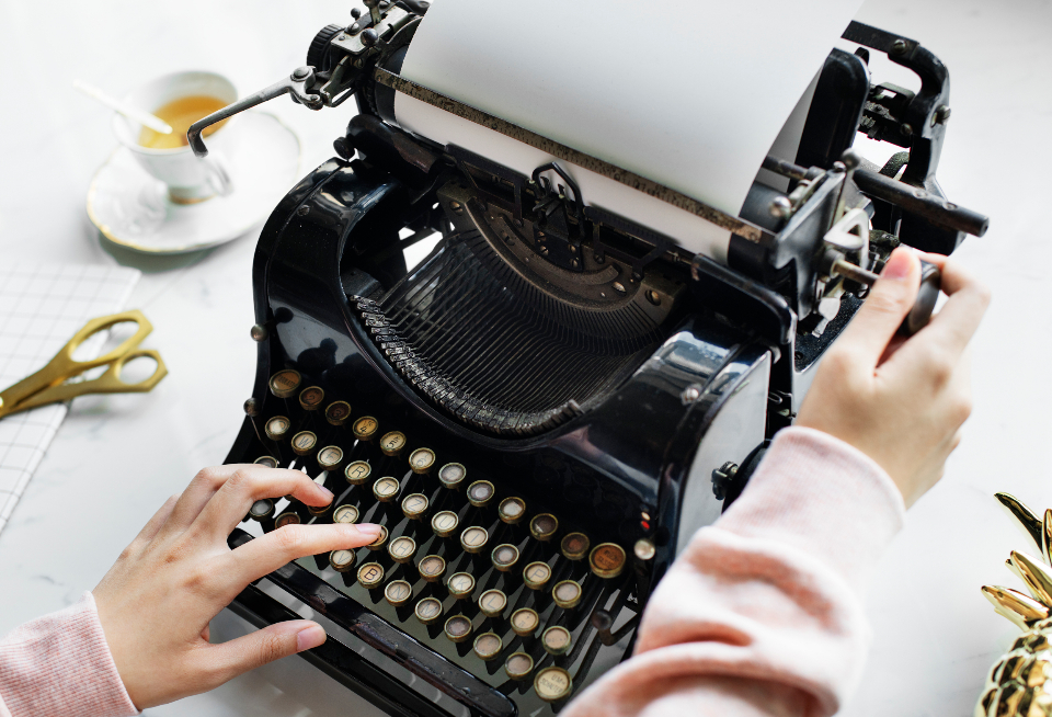 creative design space document drink editorial equipment feminine freelancer girly hand hot drink journalist keyboard machine marble mug name old fashion paper typewriter
