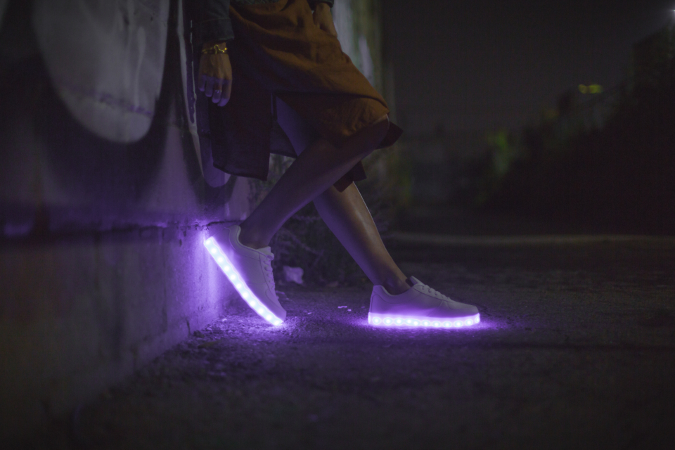 glowing sneakers night dark purple lean boy man male wall street urban