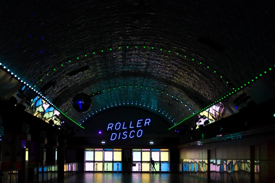 dark inside gym roller disco building mirror glass dome