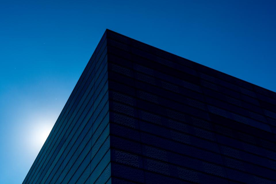 blue buildings structure architecture lines sky