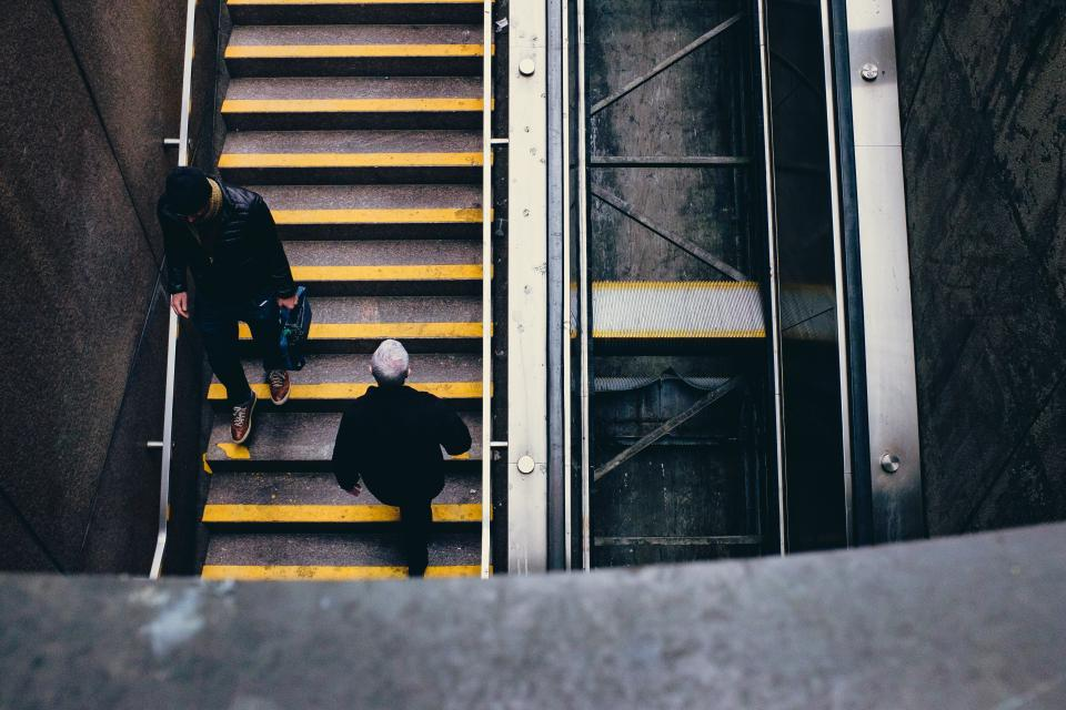 people stairs man architecture infrastructure