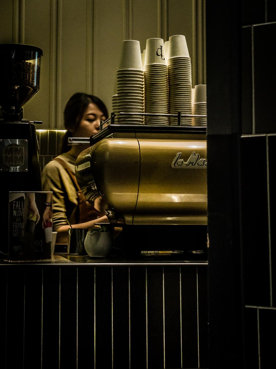 coffeehouse bar shop cafe espresso machine cups business store people girl barista