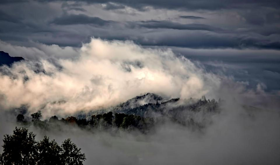 mountain highland landscape trees forest nature clouds sky fog cold weather