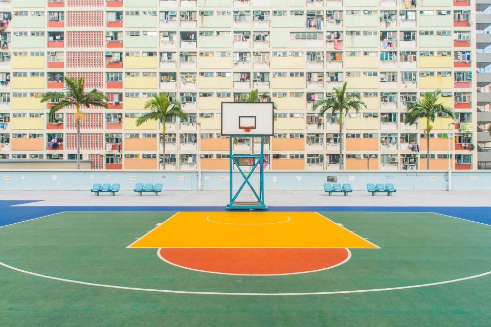 architecture building infrastructure residences landmark tower basketball court