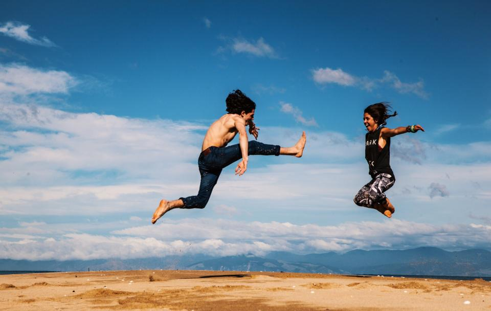 nature landscape people man woman happy enjoy jump travel adventure peak summit