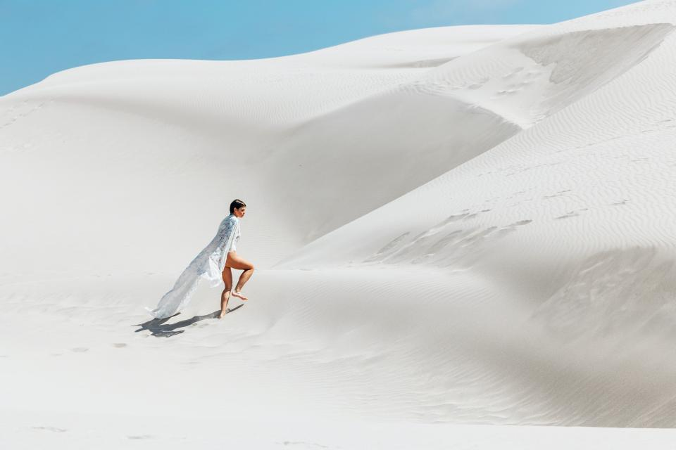 white sand desert highland landscape outdoor view travel adventure people woman girl
