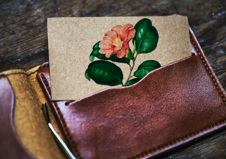aerial antique card classic closeup copy space design space empty lifestyle mock mockup name name card old paper retro space up vintage wallet flower drawing