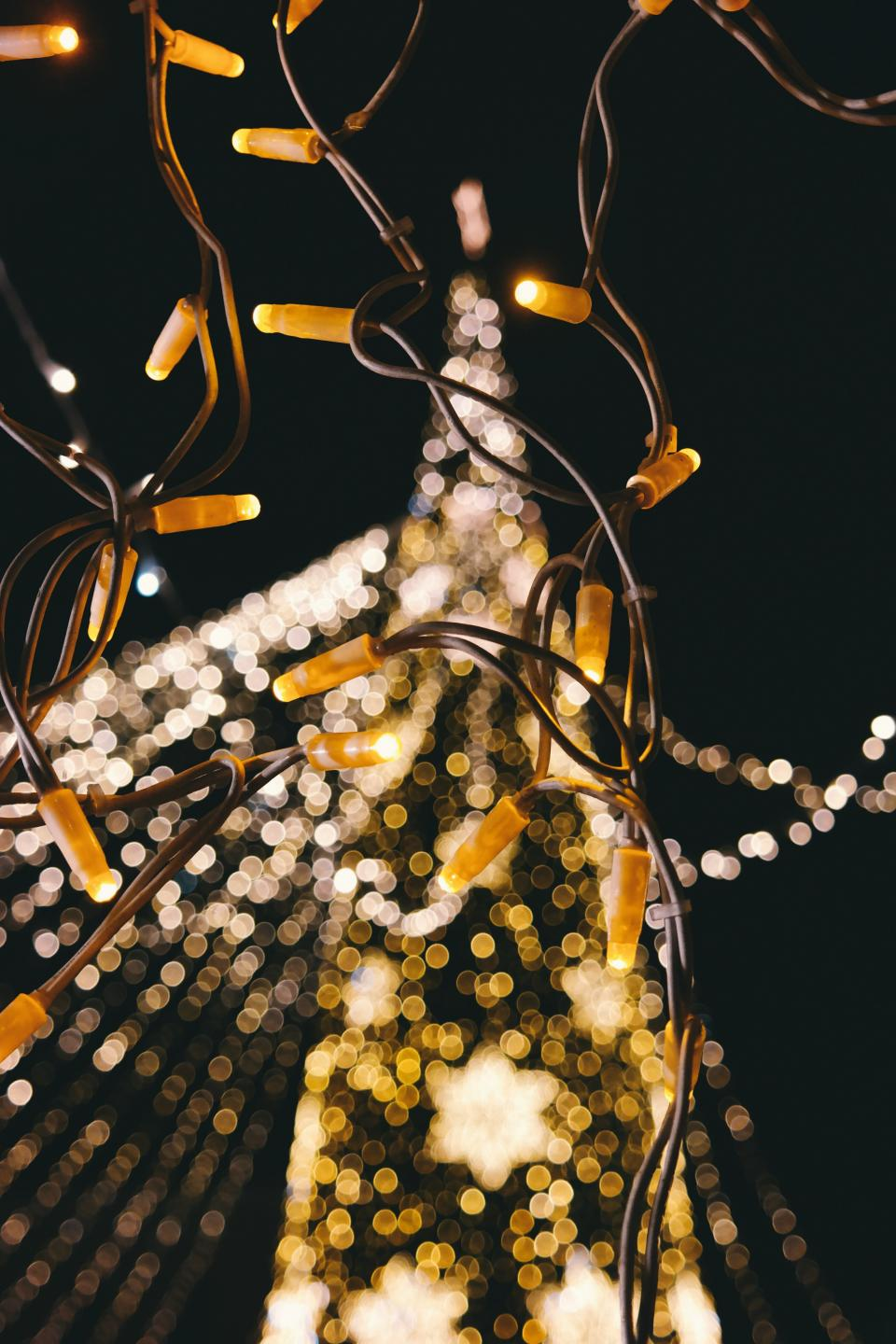 christmas lights lighting dark night electricity bokeh