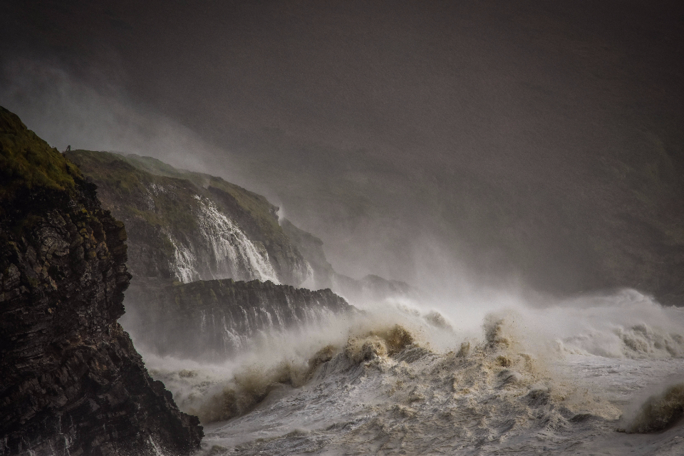 sea ireland storm wave crash cliff