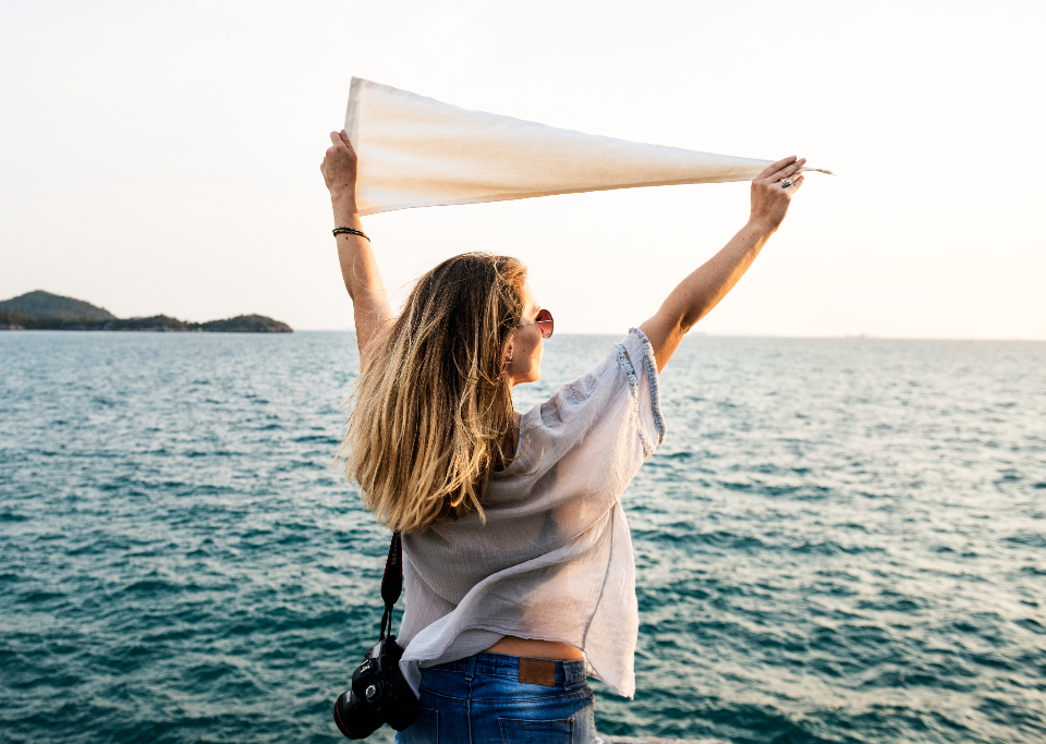 calm freedom location travel exploration life woman serenity wellness casual trip place expedition journey traveler sea tourism leisure relaxation chill destination holiday resting flag vacation route peace people ocean