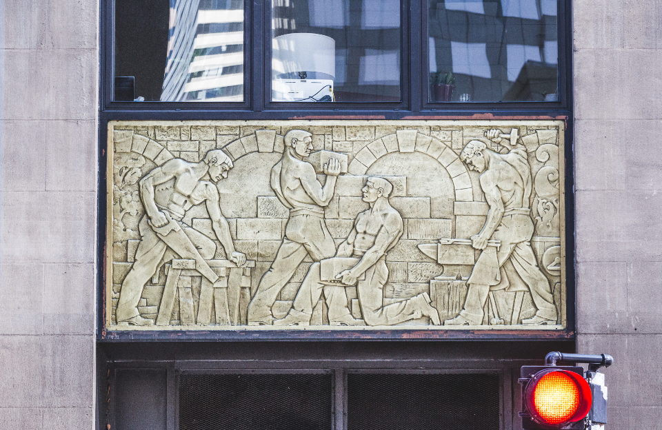 building art city sculpture artwork mural exterior street urban landmark architecture workers construction people wall facade window